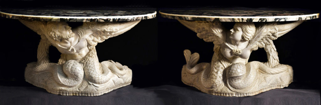 """Coppia console in bianco statuario """"Lui e Lei"""""""