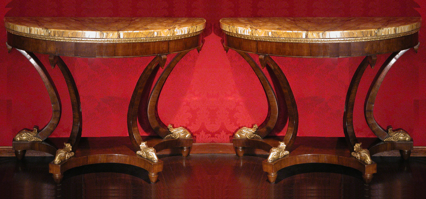 "A pair of ""demilune"" consoles"
