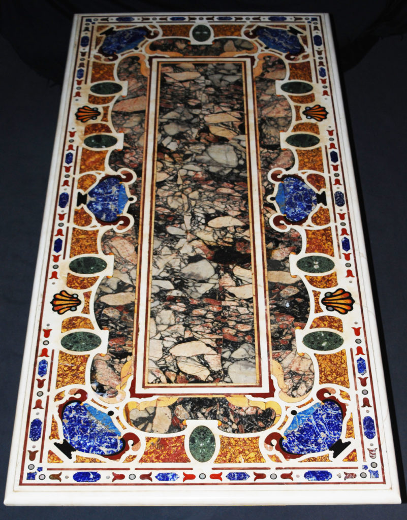 A various marble and pietra dura table