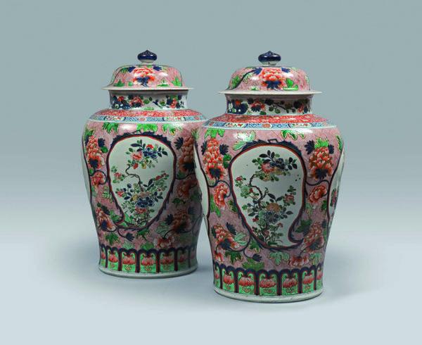"A pair of ""Green Imari"" vases"