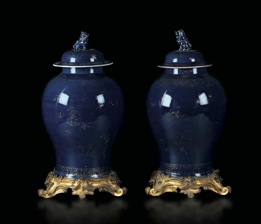"A pair of vases ""Blue and Gold"""
