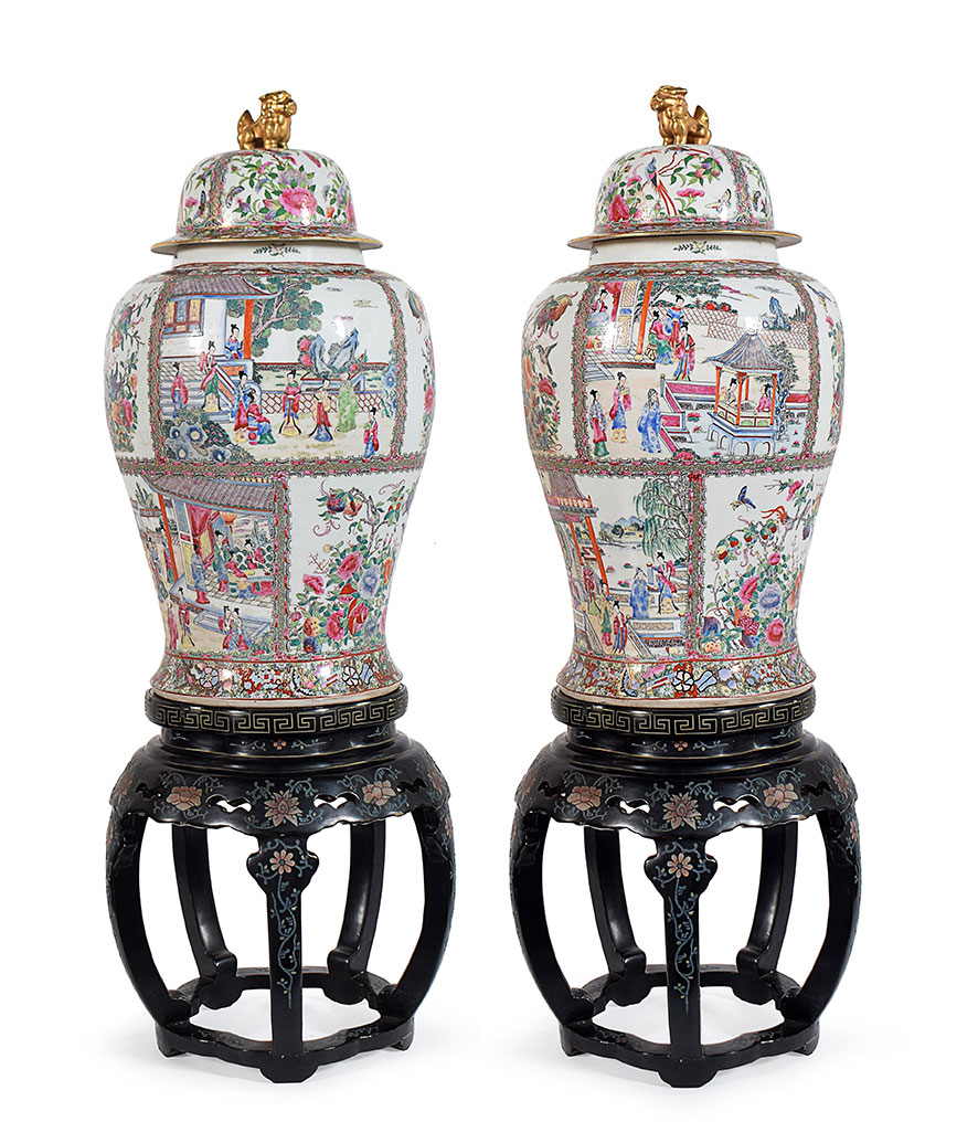 "A pair of ""Pink Family"" vases"