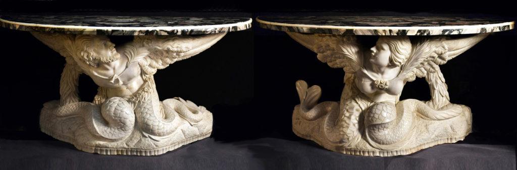 Pair of white statuary consoles