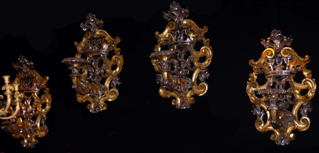 Set of four candelabras,