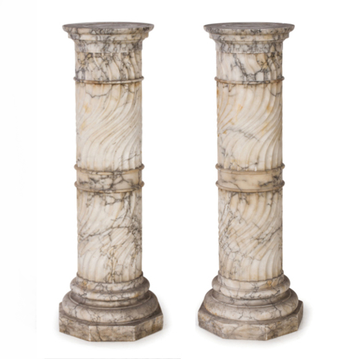 A PAIR OF ALABASTER COLUMNS